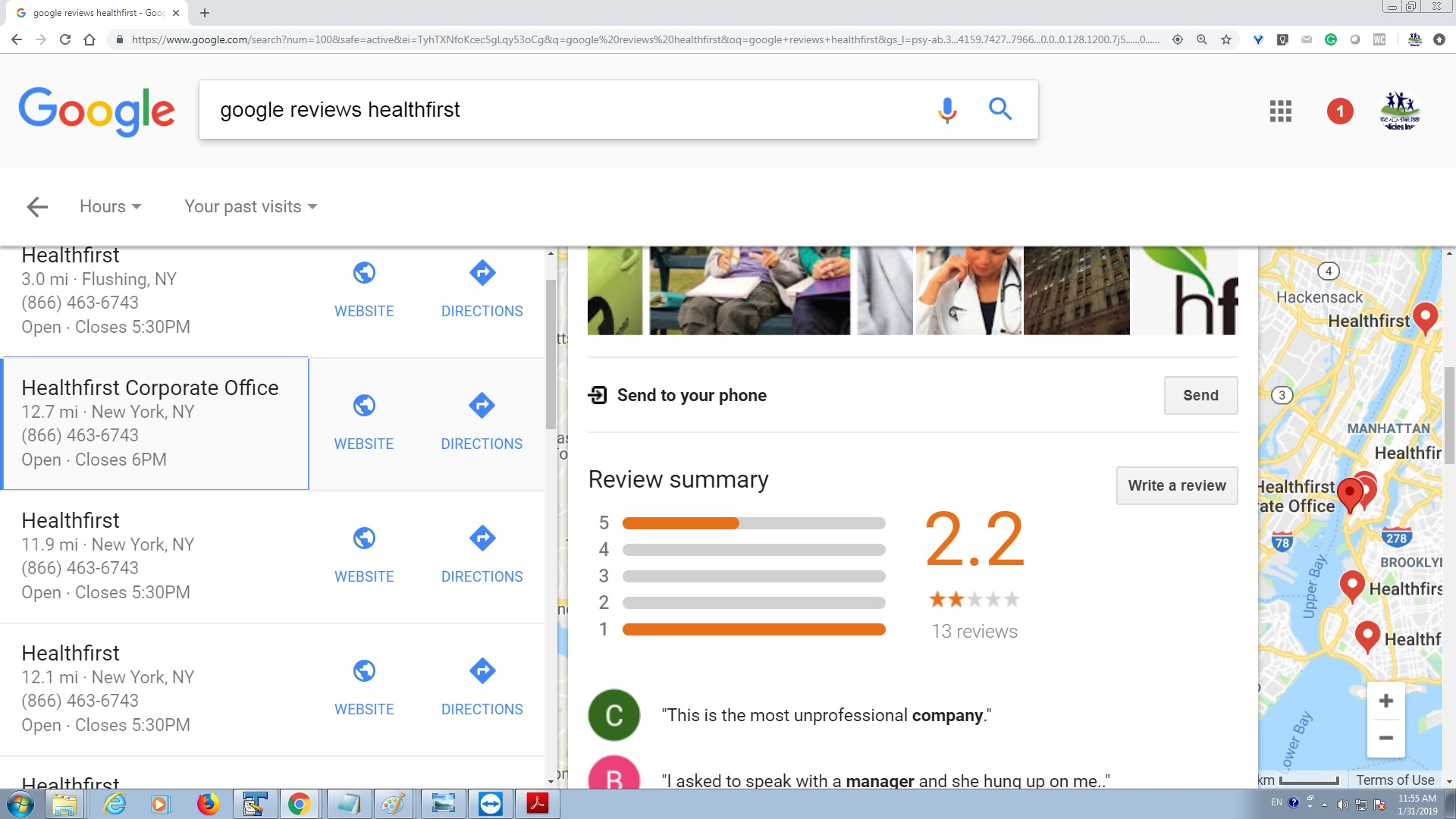 Healthfirst Health Insurance Google Review