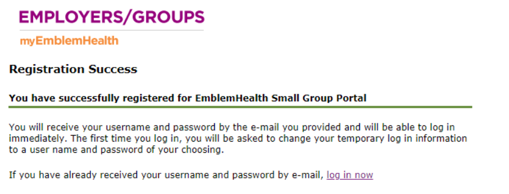 Emblem Health Insurance Review - Registration Successfull
