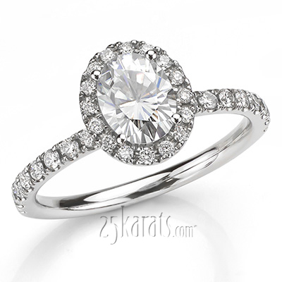 Custom design Oval Center Halo Engagement Ring
