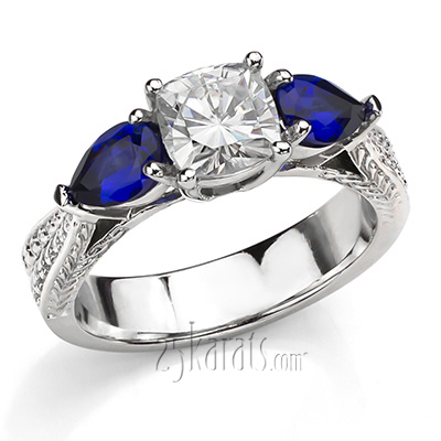 Custom design Antique 3-Stone Sapphire and Diamond Engagement Ring