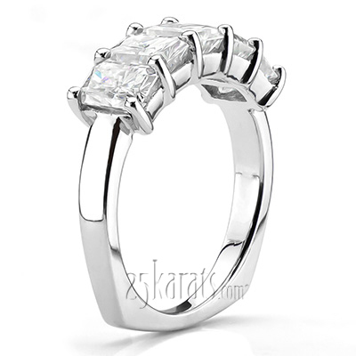 Custom design Five Stone Radiant Diamond Anniversary Ring