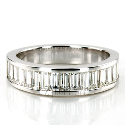 Custom design Channel Set Platinum Baguette Wedding Band