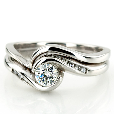 Custom design Flush-Fit Palladium Diamond Engagement Set
