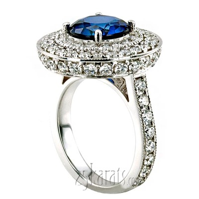 Custom design All Hand Made Sapphire Center Diamond Engagement Ring