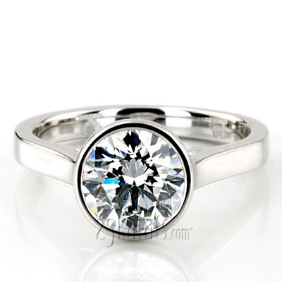 Custom design Bezel Set Platinum Solitaire Engagement Ring