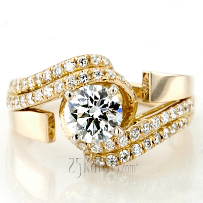 Custom design Micro Pave Set Split Shank ByPass Diamond Engagement Ring