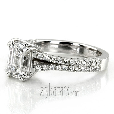 Custom design Micro Pave Emerald Cut Engagement Ring