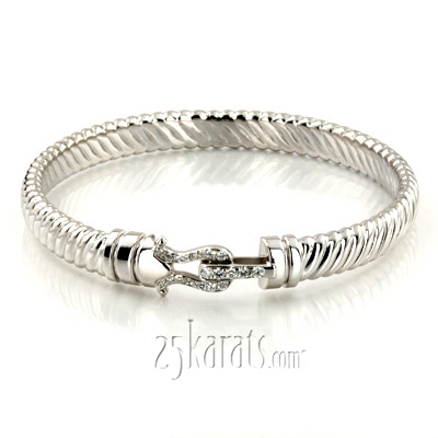 Custom design Diamond Silver Cuff Bracelet