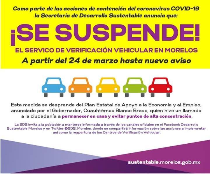 Se suspende verificación vehicular en Morelos por emergencia Covid-19