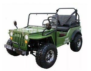 Gas Golf Cart 125cc Jeep Mini Truck ELITE Edition with 3-Speed Transmission w/Reverse, Custom Rims And Fender Flares