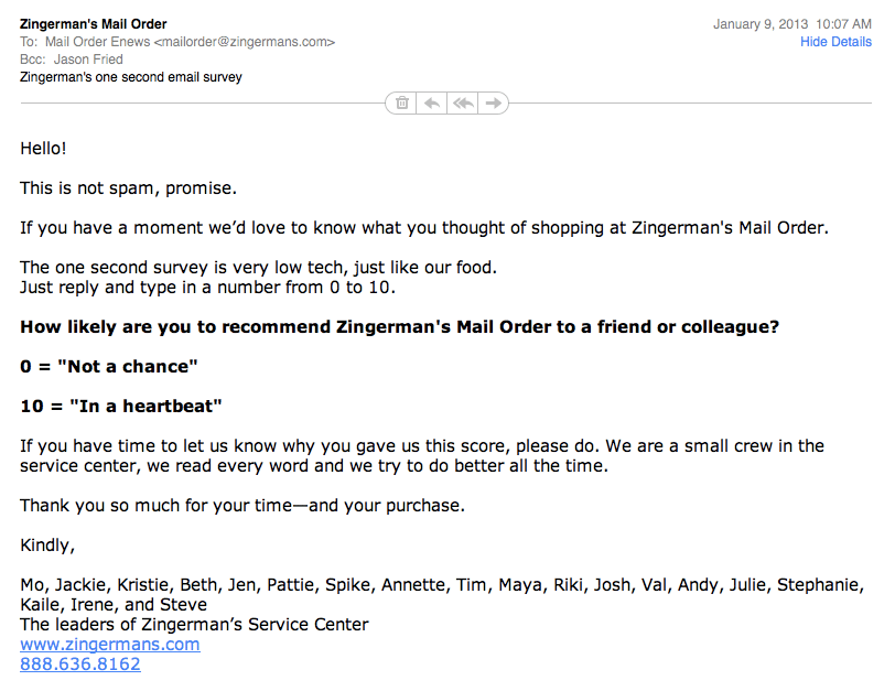 Zingerman S Simple Email Survey Signal V Noise