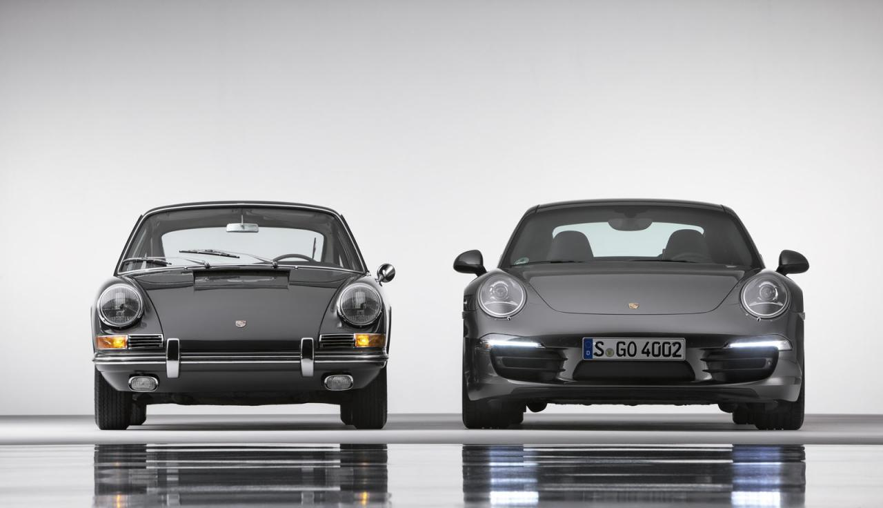 An image showing an old and the new Porsche 911 models side-by-side. The new one is slightly bigger.