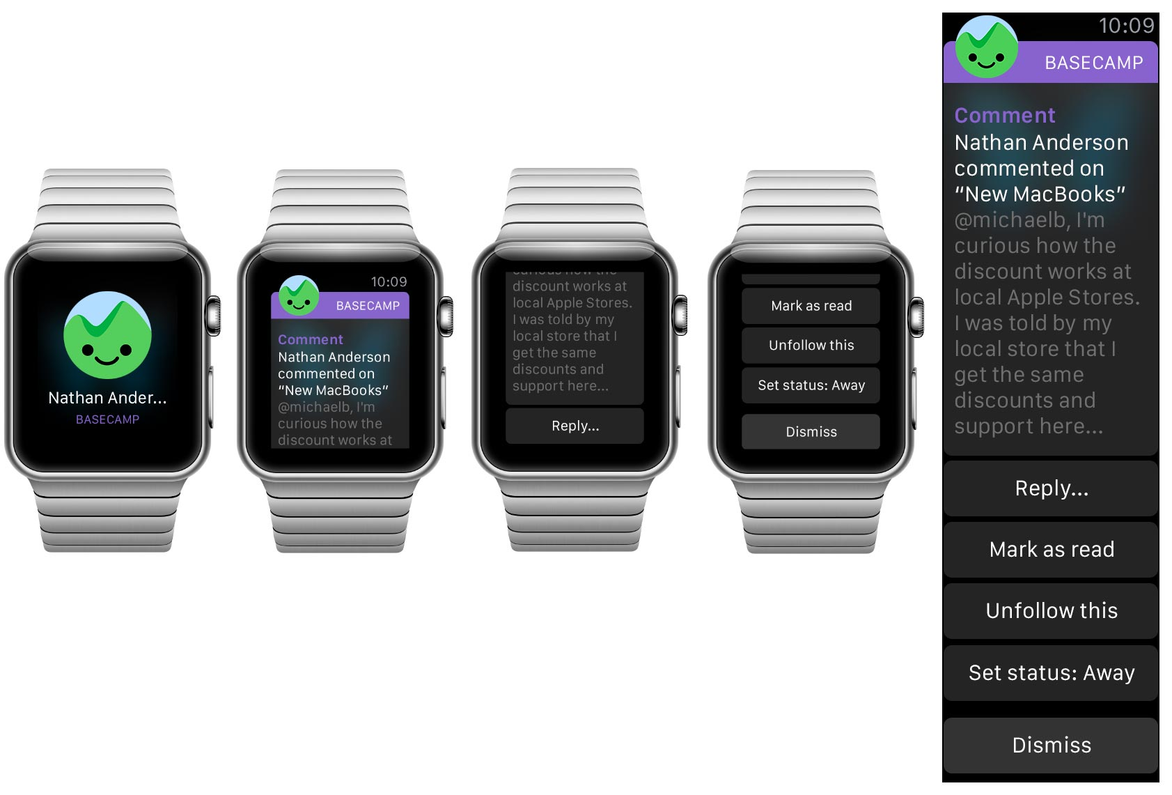 Apple Watch comments flow