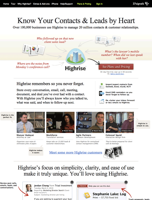Behind The Scenes Highrise Marketing Site A B Testing Part 1