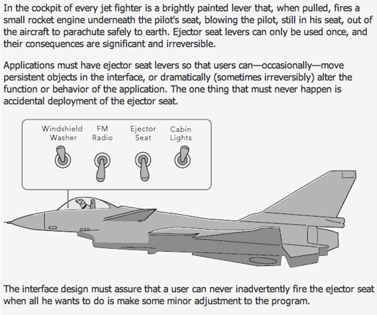 Dangerous UI elements and the ejector seat analogy – Signal