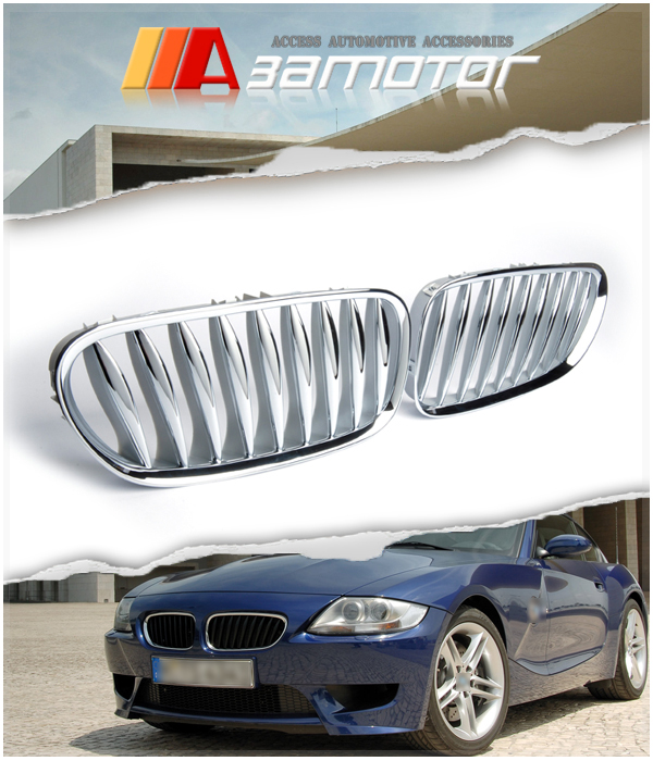 Bmw Z4 M Roadster For Sale: CHROME SILVER FRONT KIDNEY GRILLES For BMW Z4 Z4M M COUPE