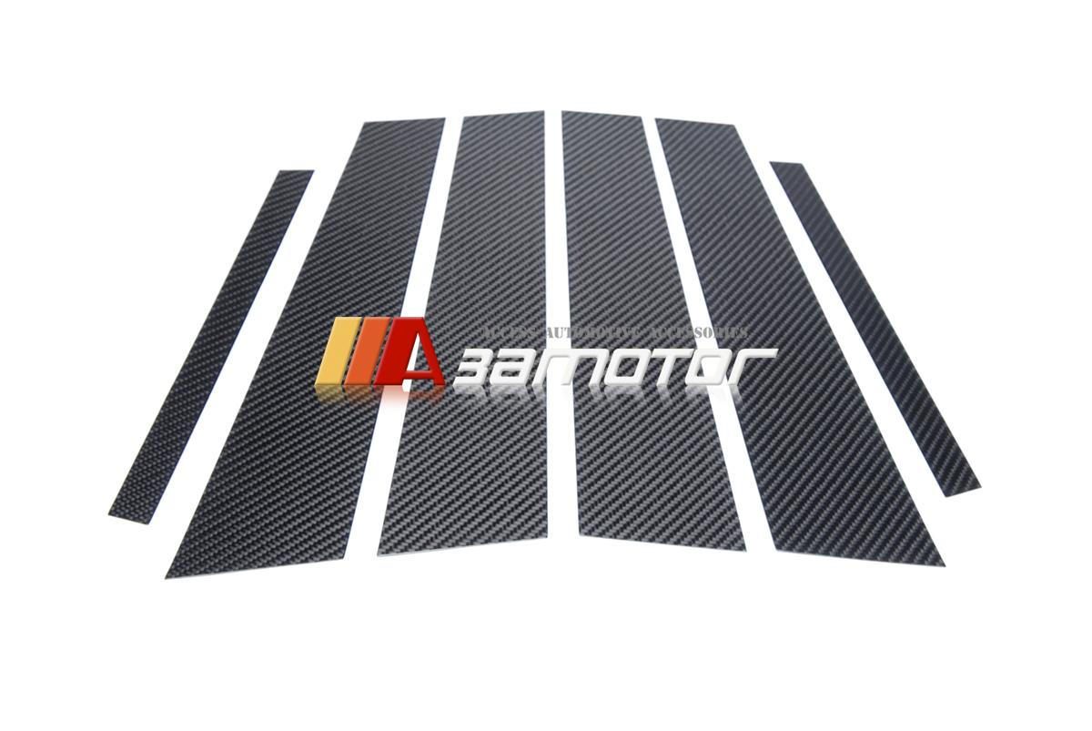 Carbon Fiber Door B Pillar Panel Cover Trim 6 PC for Mercedes W204 C-Class Sedan