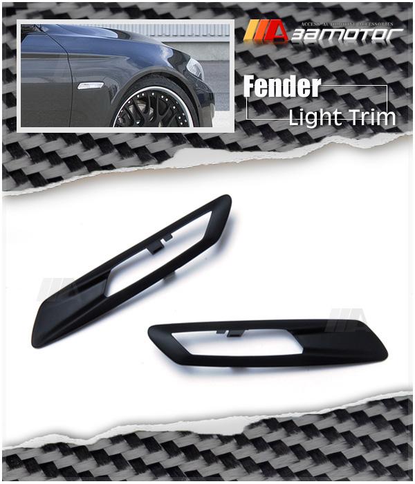 BMW F10 F11 M Type Matt Black Front Grille Fender Turn Signal Light Trim Cover
