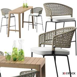 Tribu CTR Bar Chair set 3D model CTR bar stool Mojito set Mood Bar table