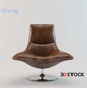 Tulip Antique Brown Leather Chair