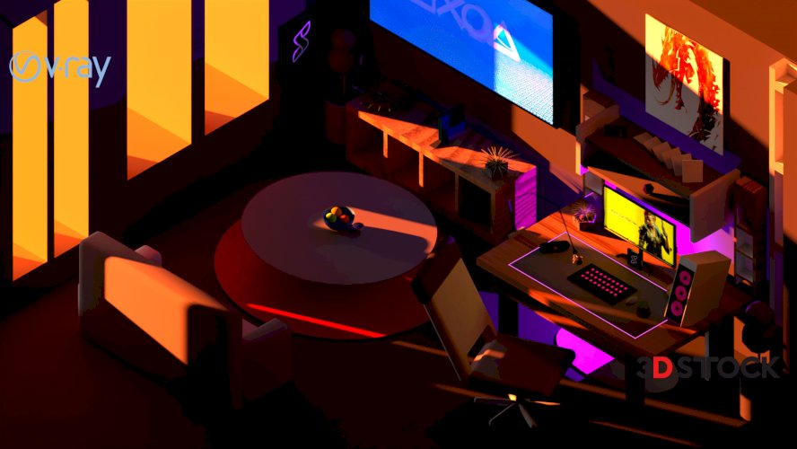 LowPoly Gaming Room