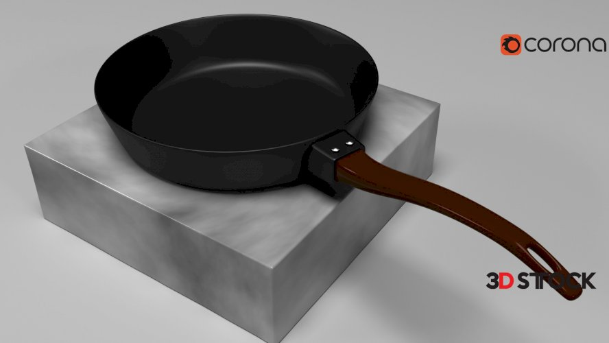 realistic 3d Iron skillet