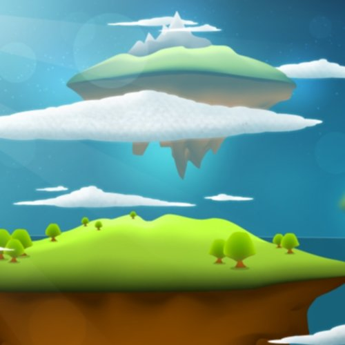 floating islands with mountains and clouds