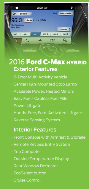 2016 Ford C-Max Hybrid Model Features