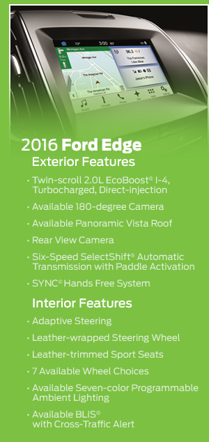 Standard Features for the 2016 Ford Edge
