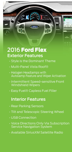 Standard Features included in the 2016 Ford Flex