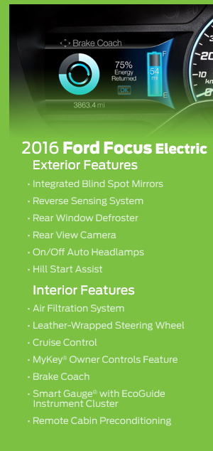 2016 Ford Focus Electric Model Features
