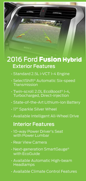 2016 Ford Fusion Hybrid Model Features