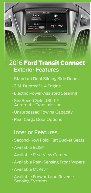 2016 Ford Transit Connect Model Features