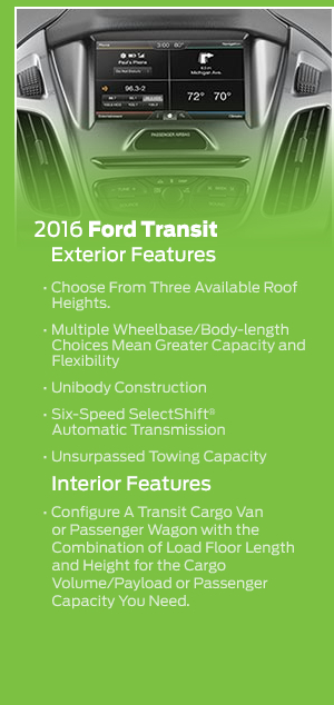 Standard features on the 2016 Ford Transit