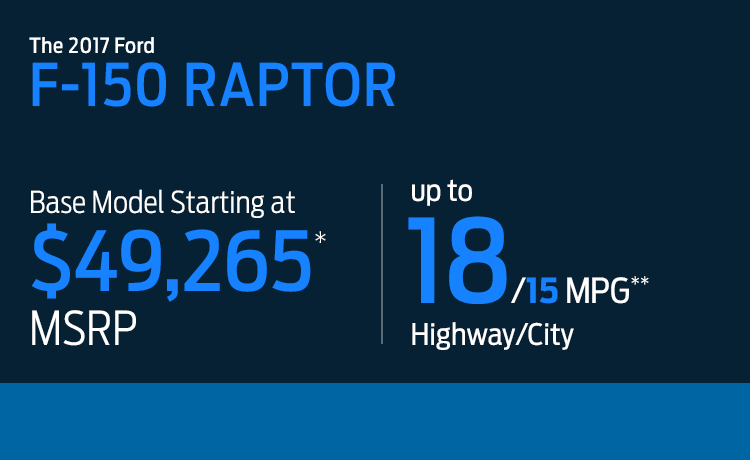 2017 Ford F-150 Raptor model MSRP & MPG