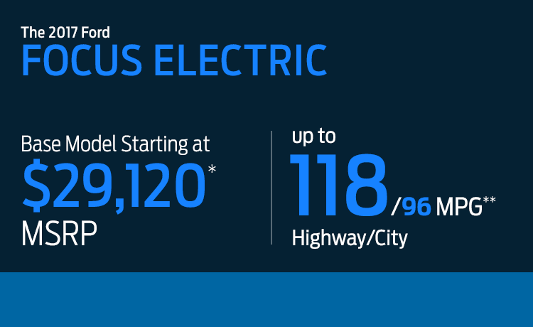 2017 Ford Focus Electric MSRP & MPG