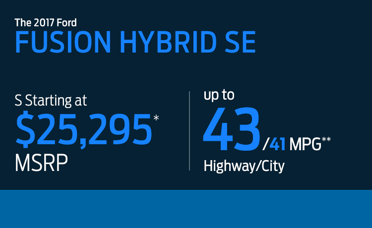 2017 Ford Fusion Hybrid model MSPR & MPG