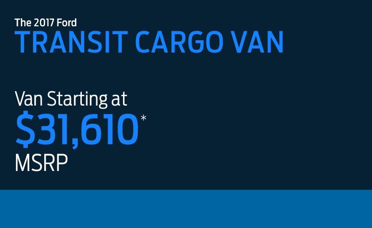 2017 Ford Transit Cargo Van model MSRP & MPG
