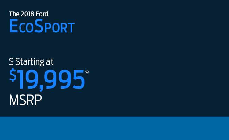 2018 Ford EcoSport model MSRP & MPG