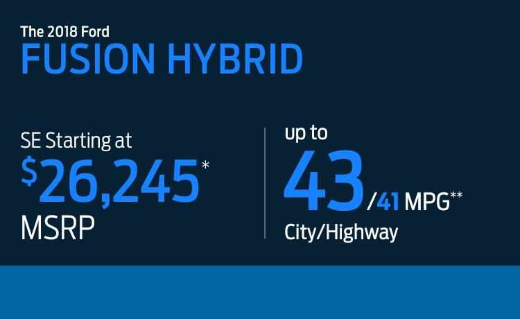2018 Ford Fusion Hybrid Model MSRP & MPG