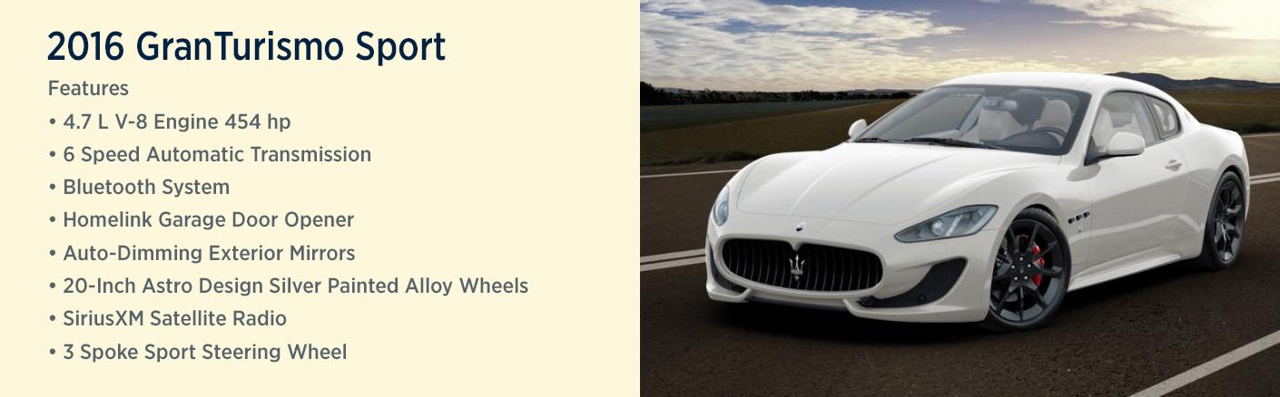 2016 Maserati GranTurismo Sport Model Features U0026 Specifications