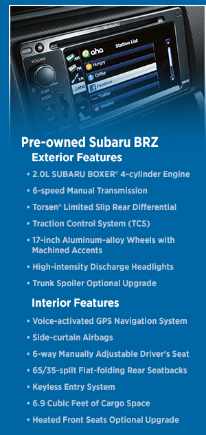 2015 Subaru BRZ Features