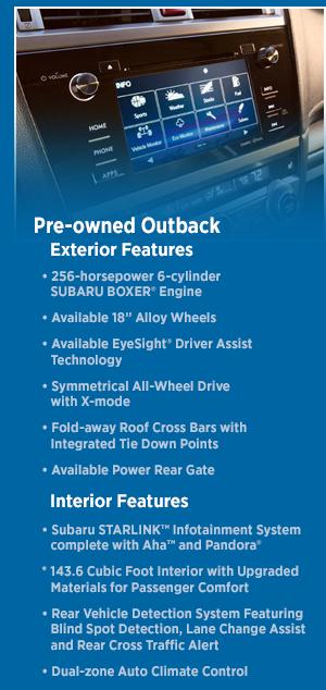 2015 Subaru Outback Features