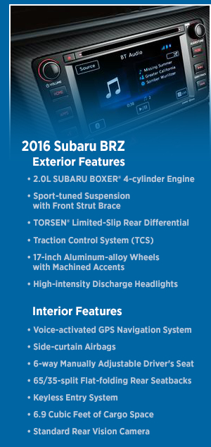 2016 Subaru BRZ Features