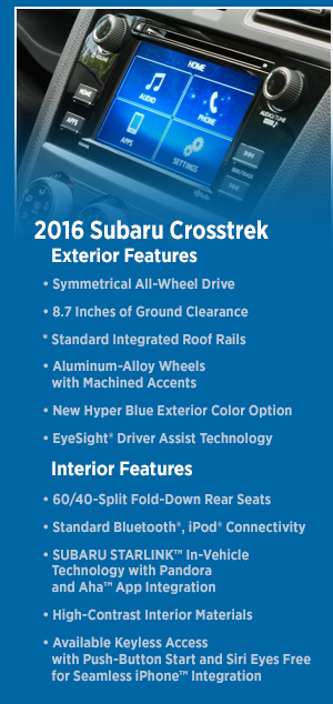 2016 Subaru Crosstrek Features