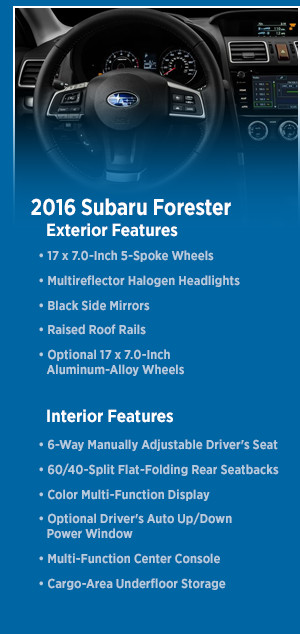 Pre-Owned 2016 Subaru Forester Model Features