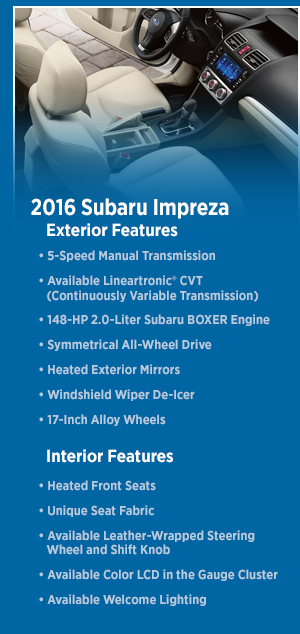2016 Subaru Impreza Model Features