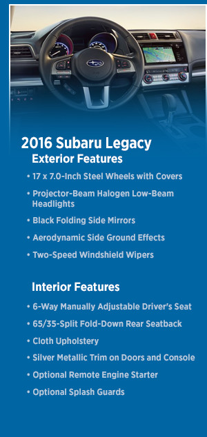 2016 Subaru Legacy Features