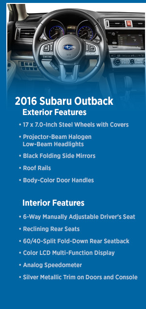 Pre-Owned 2016 Subaru Outback Model Features