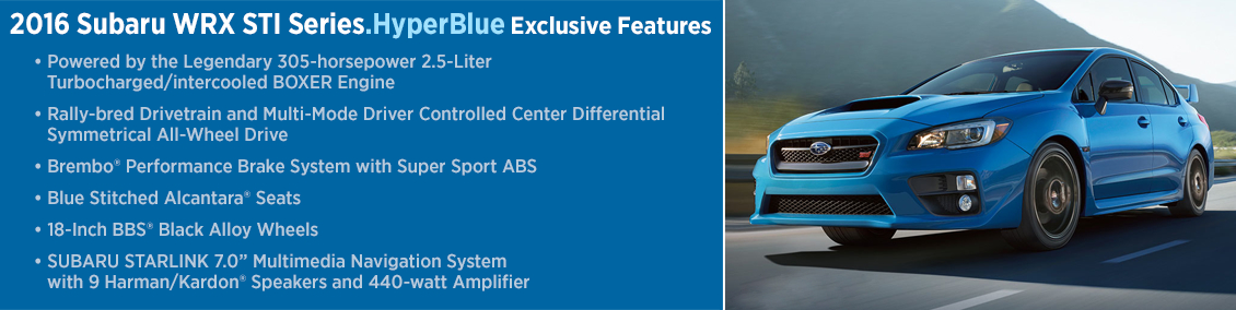 2016 Subaru WRX STI Series HyperBlue Model Information